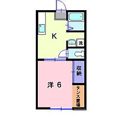 岡山県総社市中央3丁目の賃貸アパートの間取り