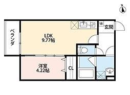 Osaka Metro中央線 緑橋駅 徒歩6分の賃貸アパート 3階1LDKの間取り