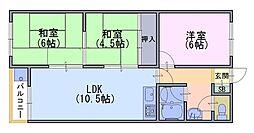コーポ中小路[3階]の間取り