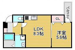 フジパレス若江岩田サウス 1階1LDKの間取り