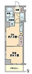東京メトロ有楽町線 新富町駅 徒歩2分の賃貸マンション 8階1DKの間取り
