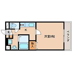 JR関西本線 王寺駅 徒歩8分の賃貸マンション 2階1Kの間取り