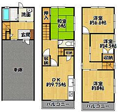 Osaka Metro谷町線 千林大宮駅 徒歩13分 4DKの間取り