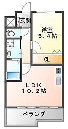 フラワーメゾン東園田 1階1LDKの間取り