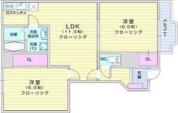 仙台市地下鉄東西線 八木山動物公園駅 徒歩29分の賃貸アパート 1階2LDKの間取り