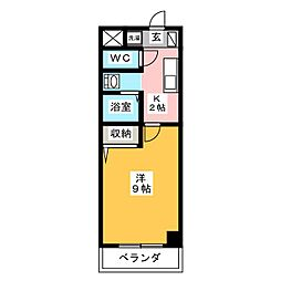 サンハイツ栄[4階]の間取り