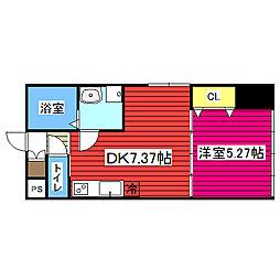 仙台市地下鉄東西線 青葉通一番町駅 徒歩3分の賃貸マンション 9階1DKの間取り