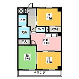 愛知県名古屋市港区東蟹田の賃貸マンションの間取り