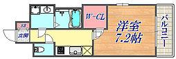 エスプレイス神戸プラージュ 2階1Kの間取り