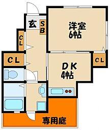ステージ和坂II 1階1DKの間取り
