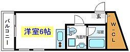 JR常磐線 亀有駅 徒歩9分の賃貸マンション 2階ワンルームの間取り