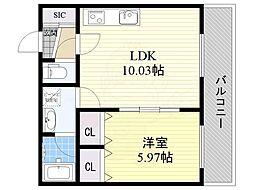 阪急宝塚本線 曽根駅 徒歩12分の賃貸アパート 2階1LDKの間取り