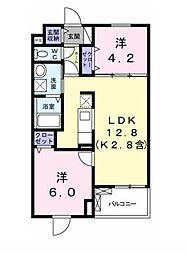 JR青梅線 小作駅 徒歩14分の賃貸マンション 2階2LDKの間取り