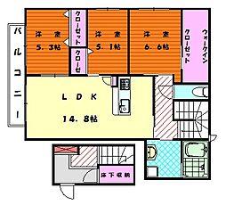 シャルマンガーデン[2階]の間取り