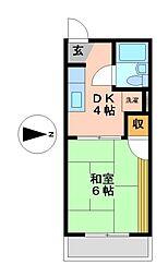 愛知県名古屋市瑞穂区白羽根町2丁目の賃貸アパートの間取り