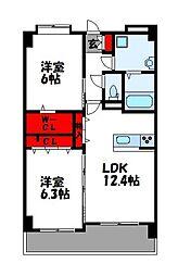 JR篠栗線 原町駅 徒歩23分の賃貸マンション 3階2LDKの間取り