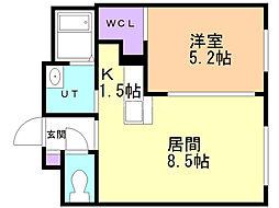 シャンブル澄川 3階1LDKの間取り