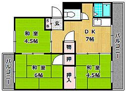 御殿山コーポ B棟[4階]の間取り