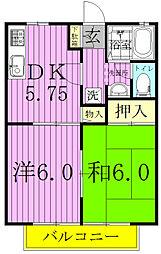 コーポラスクレストC・D棟[C201号室]の間取り
