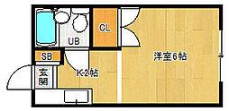 京都府京都市北区小松原北町の賃貸アパートの間取り