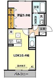 愛知県名古屋市熱田区花町の賃貸アパートの間取り