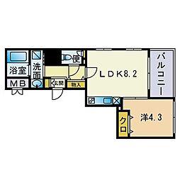 エレガンツァ大濠 4階1LDKの間取り