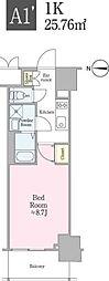 東京メトロ東西線 飯田橋駅 徒歩4分の賃貸マンション 9階1Kの間取り