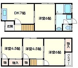 藤田町1丁目借家 4DKの間取り
