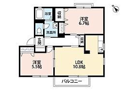 福岡県中間市大字上底井野の賃貸アパートの間取り