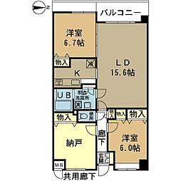 シャトー桃山台 4階2LDKの間取り