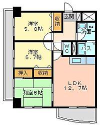 第壱上野マンション[505号室]の間取り