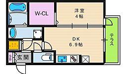 大阪府大阪市阿倍野区松虫通3丁目の賃貸アパートの間取り
