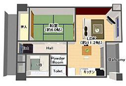 阪神本線 野田駅 徒歩5分の賃貸マンション 7階1LDKの間取り