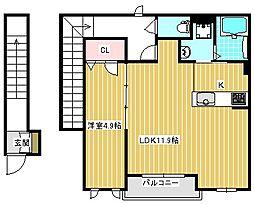 シャーメゾン安立2丁目計画[201号室]の間取り