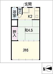 コーポ大富(瑞雲町)[2階]の間取り