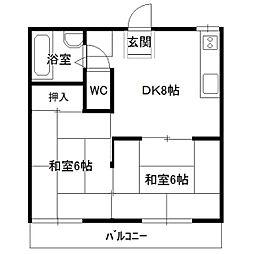 居藤ハイツA棟[202号室]の間取り