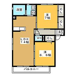 三重県四日市市松寺2丁目の賃貸アパートの間取り
