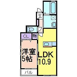グリーンガーデンII B棟 1階1LDKの間取り