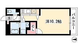 AXIA亀島 3階ワンルームの間取り