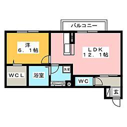 レセンテ上野 A棟[1階]の間取り