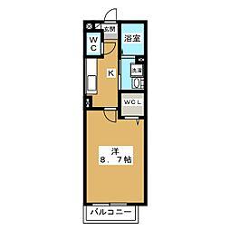 京都府京都市北区上賀茂畔勝町の賃貸アパートの間取り