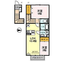 仮 D-room須賀町[203号室]の間取り