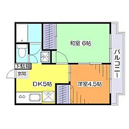 東京都小金井市桜町3丁目の賃貸アパートの間取り