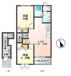 愛知県豊田市中町中郷の賃貸アパートの間取り