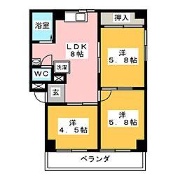 レジデンス橋本[2階]の間取り