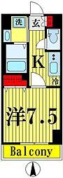 都営浅草線 本所吾妻橋駅 徒歩6分の賃貸マンション 2階1Kの間取り