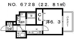 アドバンス上町台プレジール[6階]の間取り