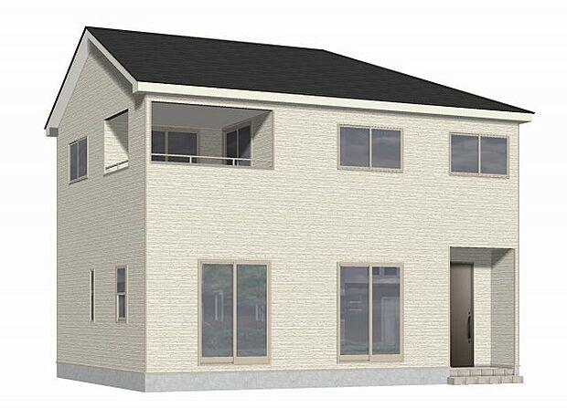 外観パース (南東側)窓が大きく、数も多いので、たくさんの光が差し込む住宅です!広々バルコニーも特徴です♪