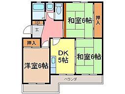 静岡県富士市平垣町の賃貸マンションの間取り