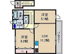 ファミーユ大阪高槻[2階]の間取り